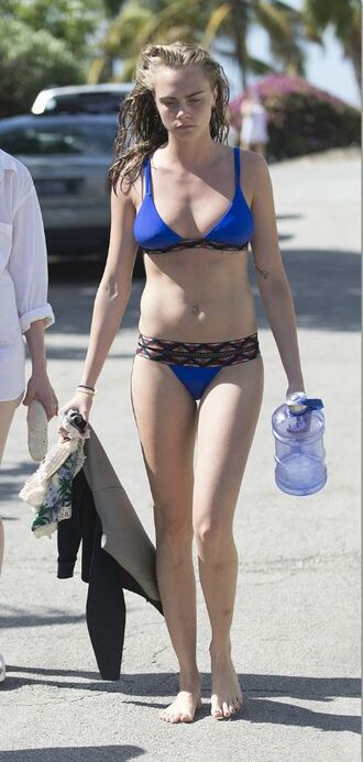 swimwear bikini bikini top bikini bottoms cara delevingne summer blue model off-duty