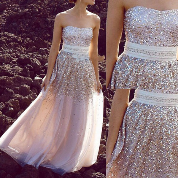 prom glitter sparkle light long prom dress girly