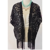 cardigan,fringe lace kimono,kimono,pretty lace,black,bikini,fringe bikini,fringe kimono,festival,tank top,blouse