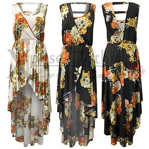 New womens ladies floral fish tail back maxi dresses hi lo hem look dress skirt