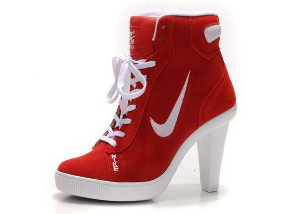 nike nike shoes red white high heels platform lace up boots