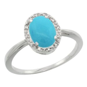 Revoni Sterling Silver Sleeping Beauty Turquoise & Diamond Ring, Oval (8X6 mm): Amazon.co.uk: Jewellery