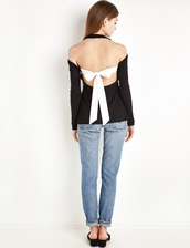 top,sunday tie back long sleeve top by new revival,black long sleeve top,fall outfits,backless top,celine,bow tie top,ribbed top,black top,black ribbed top,open back,open back top,bow tie back top,pixie market,backless