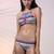 Multicolor Jewel Print Lattice Detail Bikini Swimsuit