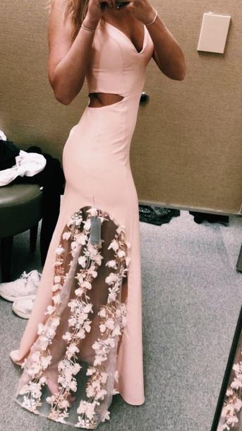 395be0cc586 dress prom dress light pink floral long flowers pink pink dress nordstorm  prom pretty mesh cut