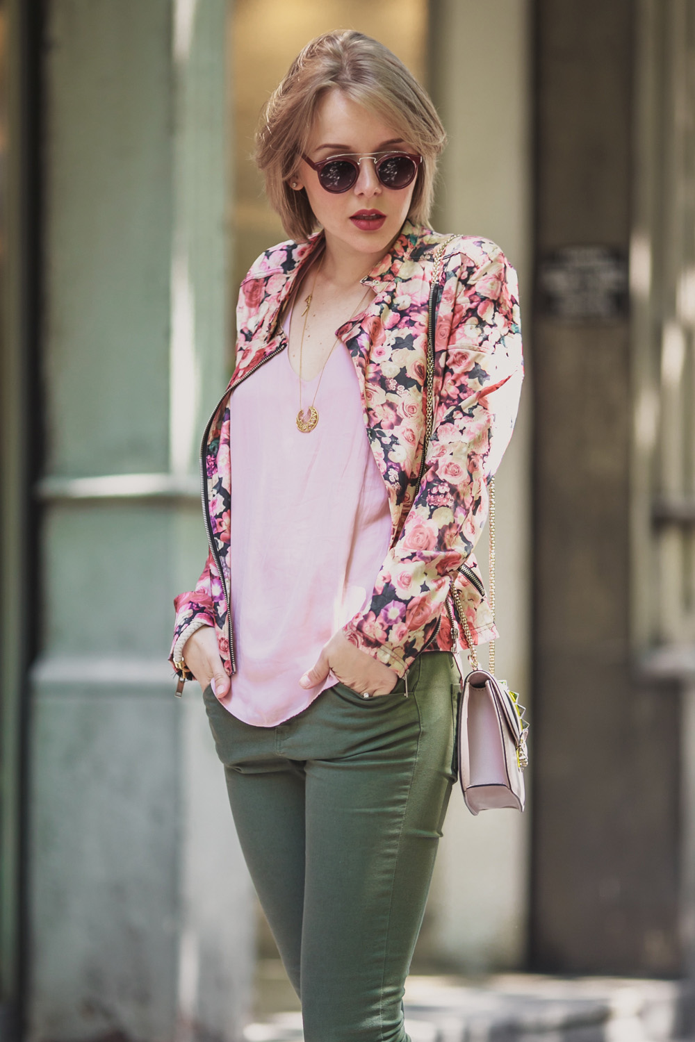 BARCELONA IN FLOWER BIKER JACKET - THECABLOOK by Darya Kamalova