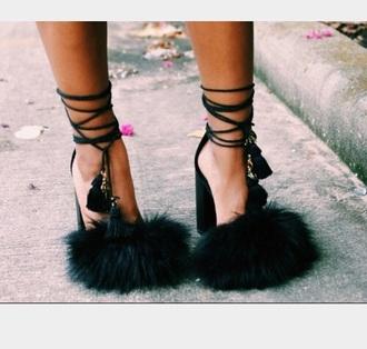 shoes heels sandals fur black dress black black heels money crop tops red dress white summer dress