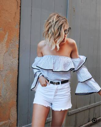 top ruffled top tumblr off the shoulder off the shoulder top stripes striped top ruffle denim denim shorts shorts