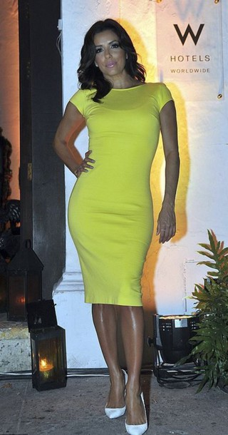 dress neon eva longoria shoes midi dress bodycon dress