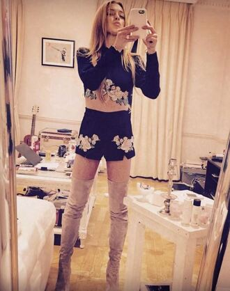 shorts top crop tops lindsay lohan instagram boots over the knee boots knee high boots