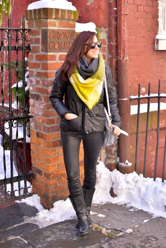 my style pill blogger scarf down jacket black boots