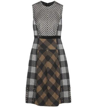 dress plaid wool brown