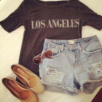t-shirt los angeles los angeles top top city location shirt