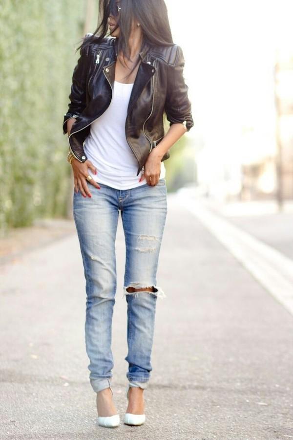 jacket black leather jacket jeans blue skinny jeans black leather jacket jewelry coat brown leather