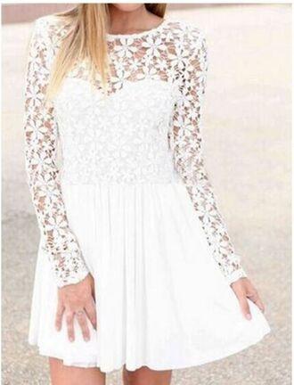 dress white dress white lace dress lace top dress long sleeve dress lace sleeve dress skater dress scoop back dress www.ustrendy.com