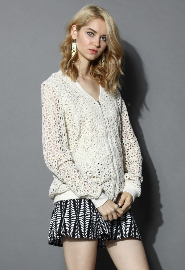 top chicwish sunflower cut-out crochet bomber backet