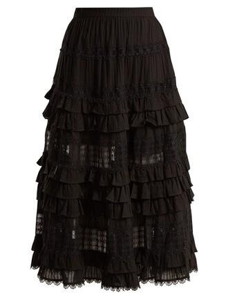 skirt ruffle lace cotton black