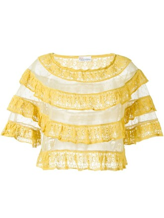 top lace top ruffle lace yellow orange