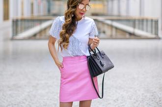 t-shirt lace ruffle top a-line skirt mini skirt skirt leather skirt pink skirt hermes hermes bag handbag sunglasses blogger blogger style