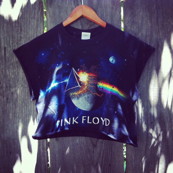 Reworked pink floyd galaxy crop top shirt by newspiritvintage