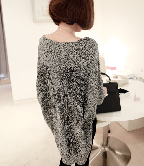 2013 14 Fall Winter Angel Wing Loose Long Sweater Knitwear Grey | eBay