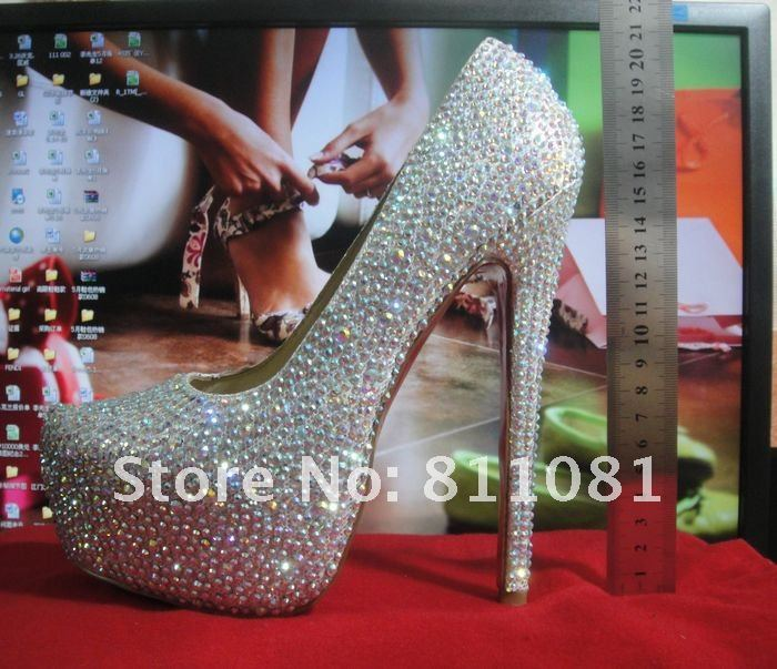 Brand women shoes rhinestone high heels platform pumps dress woman wedding high heel shoes 9/12/14/16cm red bottom heels-in Pumps from Shoes on Aliexpress.com