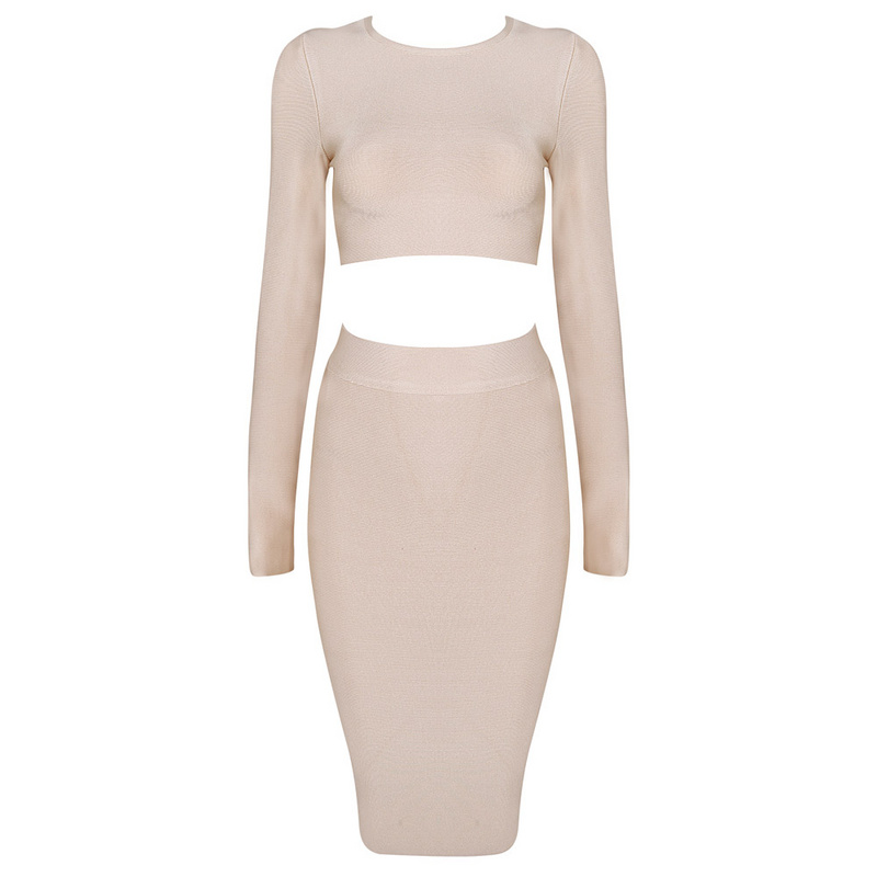 Bqueen Apricot Long Sleeve Sets Bandage Dress HL081