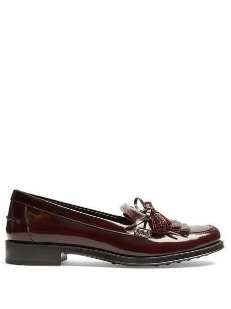 TOD'S loafers leather burgundy shoes