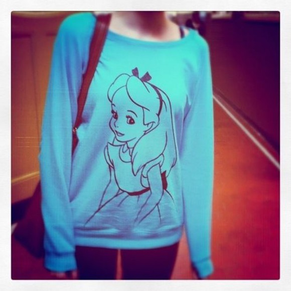 clothes sweater alice in wonderland blue