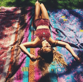 shorts festival tank top jumpsuit red hippie design dress top trouser vintage style summer dress fashion set high waisted shorts boho crop tops print festival vibes trendy high waisted coachella vanessa hudgens music festival halter top cropped crop halter crop top two-piece