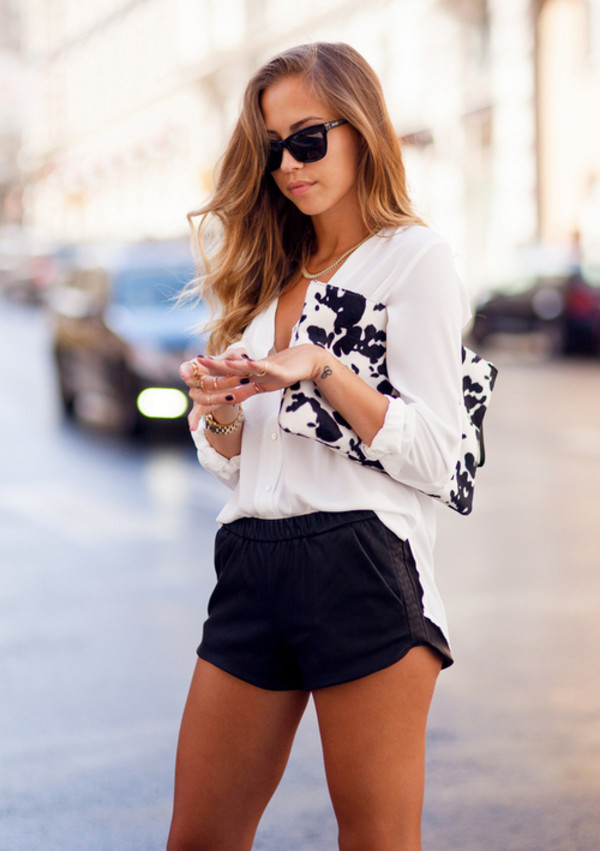 shorts top leather vougue hot pants model black white clutch girly bag shirt