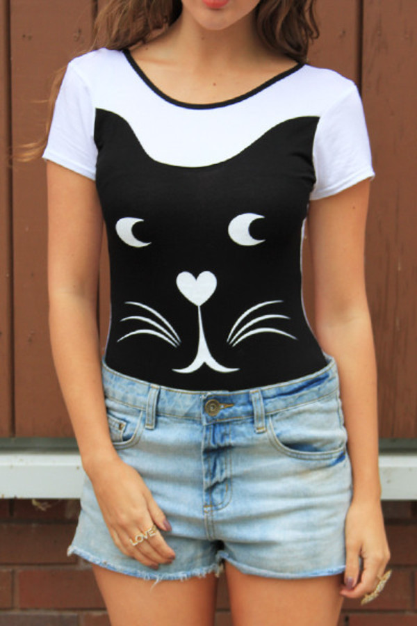 tank top bodysuit cats cats cute animal