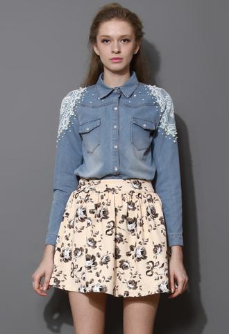 shirt pearl lace emma watson embellished denim