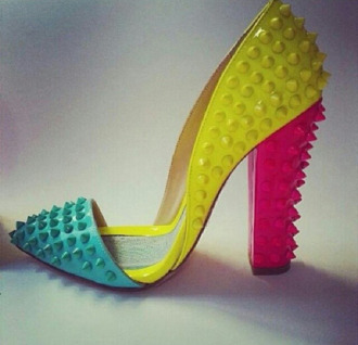 shoes neon neon yellow neon pink neon blue colorful heels spiked pointed toe chunky heels