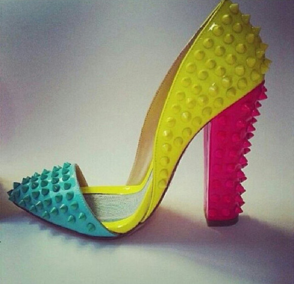 shoes neon yellow neon pink neon neon blue colorful high heels spiked pointed toe chunky heels
