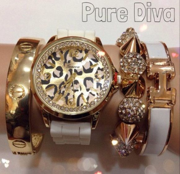 white leopard print leopard animal print jewels watch leopard watch gold