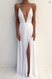 dress,white dress,white long dress,plunge v neck,slit dress,long dress,formal dress,formal