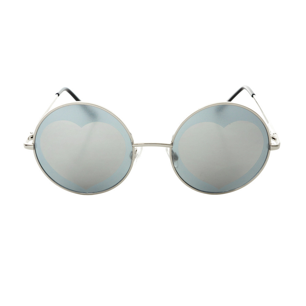 Indie Hippie Retro Style Heart Mirror Lens Metal Round Sunglasses R236 – FREYRS - Beautifully designed, cheap sunglasses for men & women