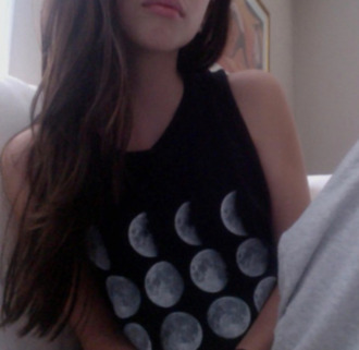 t-shirt white black top moon different