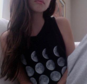 t-shirt top moon black white