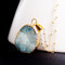 Long blue druzy necklace, natural aqua stone pendant, blue geode, layering jewelry, beach inspired