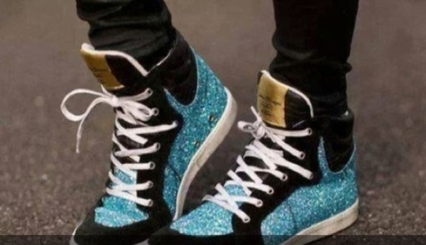 shoes high tops glitter glitter blue blue glittery blue glitter glitter shoes blue sparkles