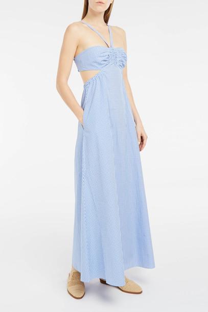 Tibi dress maxi dress maxi cut-out women gingham blue