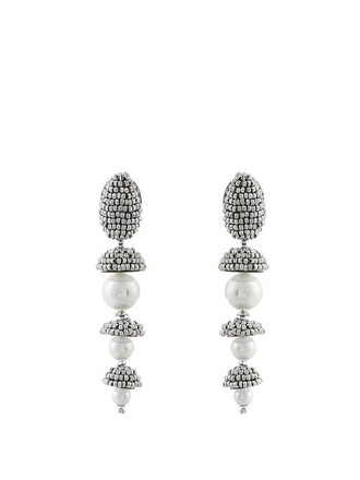 pearl beaded earrings silver jewels