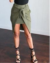 skirt,olive green,khaki