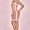 Clothing : bandage dresses : 'shah' orange, coffee & white halter bandage dress