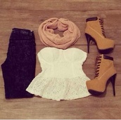 shoes,scarf,platform high heels,platform lace up boots,blouse,clothes g star,high heels,shorts,top,heels,boots