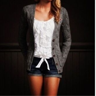 sweater grey cardigan buttons coat ruffle shrit ruffle shorts shirt tank top blouse white jeans bow lace tie ahort summer knit long sleeves no sleeve cute crop hollister knitted cardigan whiteshirt cute shorts top ruffled top grey cardigan bows white shirt ruffled blouse t-shirt