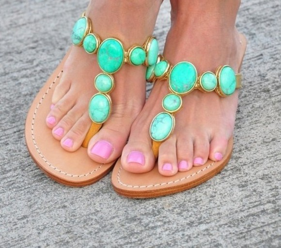 shoes brown shoes summer leather flat sandals mint green stone
