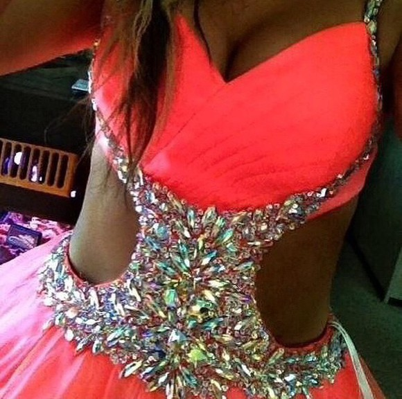cut-out prom dress hot pink rhinestones